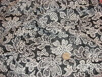 "Vintage Sheer Lightweight Fabric WHITE FLORAL ON BLACK 1 Yd/37"" Wide"