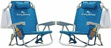 2 PACK | Tommy Bahama Backpack Beach Folding Deck Chair Blue Flower 2020 IN HAND