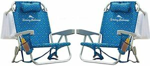 2 PACK | Tommy Bahama Backpack Beach Folding Deck Chair Blue Flower 2021 IN HAND