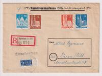 Bizone/Bauten, Mi. 75 WB I, 76 XF, 81 W F, 84 W B, R-Regensburg/Bhf.,3.12.48