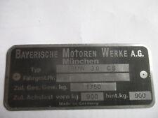 Nameplate BMW 3.0 Cs Sign Id Plate 3. 0cs 3,0 Csi E9 Coupe E 9 1750 kg S48