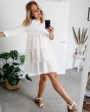 *** ZARA WHITE TEXTURED DRESS SUMMER HOLIDAYS PARTY BLOGGERS SIZE S