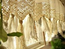"60"" Vintage BOHO kitchen Valance window curtain Crochet Shabby Cream Chic Rustic"