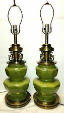 Pair Vintage Stiffel Green Ceramic Spatter Mid-century Table Lamps Electric 28""