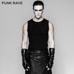 Punk Rave Steampunk Black Men's Biker Leather Gloves Delicate Mesh Long Gloves