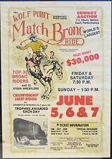 Vtg Wolf Point Montana Mt Match Saddle Western Cowboy Rodeo Poster w Buffalo