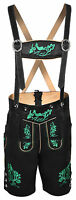 Mens Bavarian LEDERHOSEN Black Real Leather  with Matching Suspenders Shorts