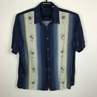 Hawaiian Camp Shirt Size L Blue Palm Trees Short Sleeve Button Down Rayon Mens