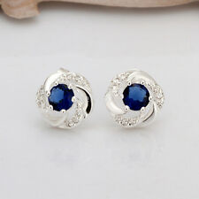 New Women 925 Silver Plated Fashion Flower Blue Gemstone Stud Earrings Jewelry