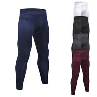 Men's Compression Tights Sports Running Baselayers Pants with Pocket Dri-fit