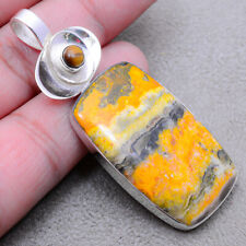 """Bumble Bee Jasper & Tiger Eye Solid 925 Sterling Silver Pendant 2.38"""" F1898"""