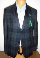 Lauren Ralph Lauren Wool Charcoal Tartan Plaid Blazer Dinner Jacket NWT 40R $400