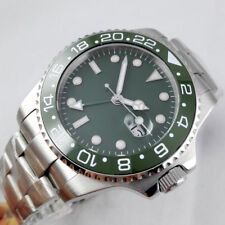 43mm PARNIS Green dial GMT Rotating Bezel Sapphire automatic movement mens Watch