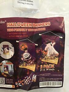 Pawliss Halloween Decorations Hanging Door Banner, 2 Pcs Cute Pumpkin Ghost Skel