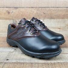 New listing Footjoy GreenJoys Men Sz 11.5 Wide Golf Shoes Brown Black 45564 Soft Cleat