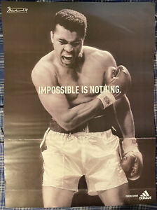 """Muhammad Ali """"Impossible Is Nothing"""" Poster 27"""" x 36"""" On Back Has More Athletes"""