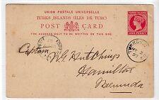 TURKS ISLANDS: 1897 POSTAL STATIONERY TO BERMUDA (C21500)