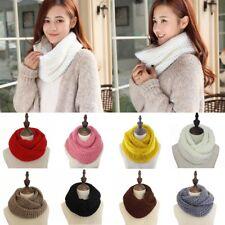 Women Ladies Warm Knit Neck Circle Wool Cowl Snood Long Scarf Shawl Wrap Warmer