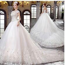 New White/Ivory Wedding Dress Prom Bridal Gown Custom Size 4-6-8-10-12-14-16++