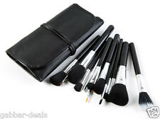 Cosmetic Makeup Brush Set - 15 Brushes with Black Leather Case (P)
