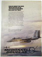 Vintage 1983 McDonnell Douglas F-15 Eagle Aircraft Plane Print Ad