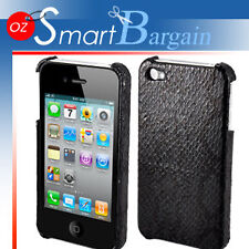 Black Snakeskin Design Cover Case For iPhone 4G 4GS + Screen Protector