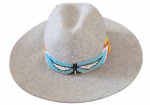 Western Seed Beaded Hat Band Stretch Fit Cowboy Hatband Eagle Turquoise