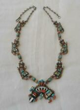 Vintage Sterling Silver Rain Dancer Squash Blossom Necklace Turquoise Coral Zuni