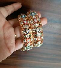 Indian Jewelry 2PC Bollywood Jadau Hyderabad New Gold Plated Kada Set Ak 951