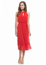 NWT DONNA RICCO RED PLEATED LONG BELTED DRESS SIZE 14 $99