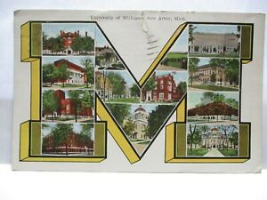 "1910 BROWN BOOK CO ANN ARBOR POSTCARD 12 SITES LETTER "" M "" U MICHIGAN ANN ARBOR"