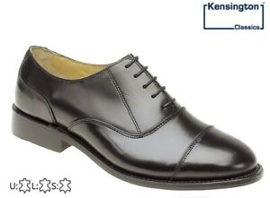 Mens Kensington FULL LEATHER Capped Oxford Lace Up Shoes Black Size 6-14
