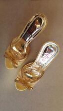 Liyilu Womens Formal Dress Shoes Gold Open Toe Slip Ons Size 7.5