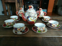 VINTAGE JAPANESE PORCELAIN DRAGON WARE 18-piece TEA SET VERY RARE COLLECTIBLE