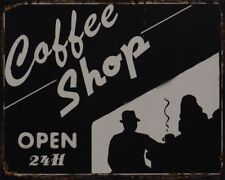 Tin Sign Coffee Shop Kitchen Kitchen Sign Open Coffee Machine Coffee Coffee 24 H