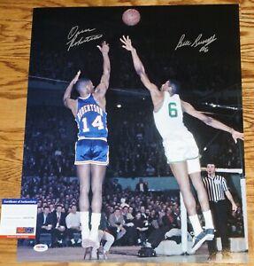 BIL RUSSELL & OSCAR ROBERTSON Signed Basketball 16x20 Photo + PSA COA AB31740