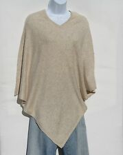"""100% Cashmere Poncho  Knit """"V Neck"""" Hand Loomed """"Natural"""" Yarn Tan"""