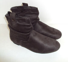 LADIES FLAT GREY PULL-ON PIXIE BIKER ANKLE SLOUCH CHELSEA BOOT SHOES Size UK 3