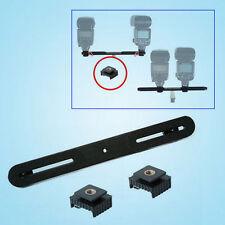 Dual Camera Flash Bracket Hot Shoe Flashgun Arm Digital Mount Tripod 2x Adapters