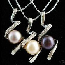 "3pcs Black White Purple Akoya Natural Pearl Pendants Necklace 17"" AA"