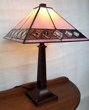 Paramount Pink Table Lamp - Tiffany Style Handcrafted Leadlight Lamp - New