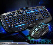 USB LED Light Gaming Keyboard and Mouse Set Kit for Computer PC Multimedia Gamer