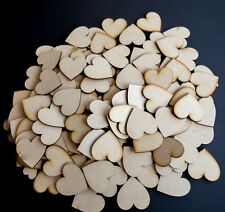 100 x Wooden Heart shapes Laser Cut MDF. Blank Embellishments Craft 20mm x 20mm
