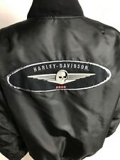 Harley Davidson HD 2000 Women S  Black Nylon Biker Zip Up Jacket Skull Insulated