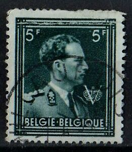 BELGIUM 1957 King Leopold III with 'V' /Mi:BE 691B/ 5fr STAMP