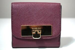 Michael Kors Callie Leather Plum Trifold Coin Case Wallet