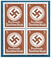 RARE MNH BLOCK of 4 WW2 NAZI SWASTIKA STAMPS! BUY 2 GET SHEET OF 8! BUY 3 GET 12