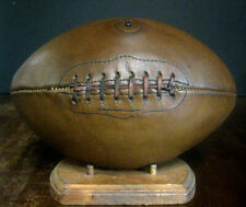LARGE Early Old Antique Late 1920's Valve Type Leather Football Pigskin Vintage