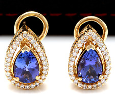 3.75Ct Natural Tanzanite and Diamond 14K Solid Yellow Gold Earrings