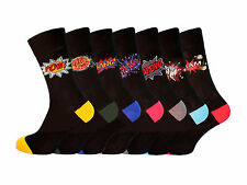 Men's 7 Pair Comic Socks Funny Character Comic Jokes Crashhh Splash Blam Pow Kap